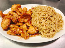 Sesame Chicken with a side of lomein