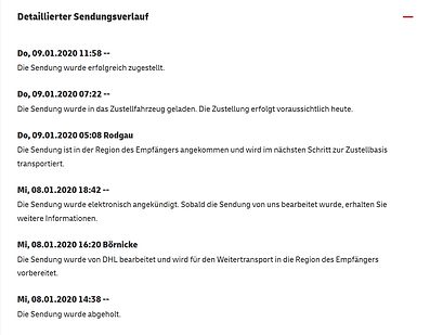 Samahan Online 2020-01-11 DHL Sendungsve