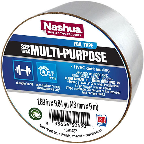 1.89 in. x 9.8 yds. 322 Multi-Purpose HVAC Foil Tape