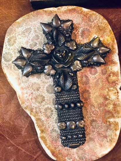Bronze Beaded Cross