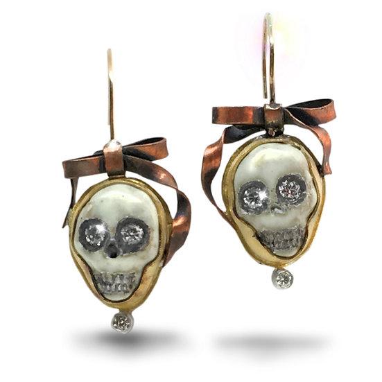 Skulls & Bows Earrings by Melinda Risk