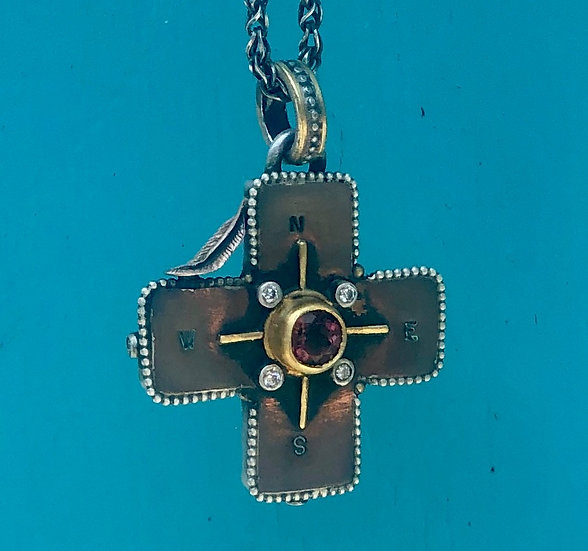 Cross & Compass Double Sided Necklace