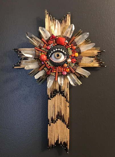 Petite Folk Art Cross with Eye by Betsy Youngquist
