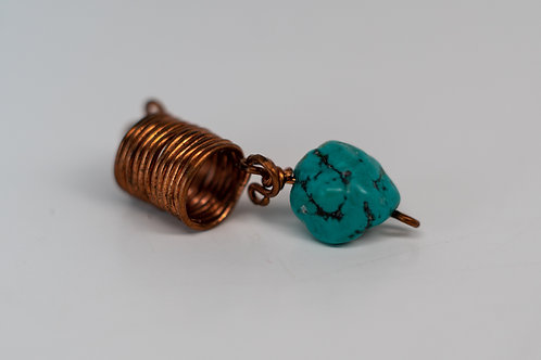 Turquoise and copper dreadlock jewelry