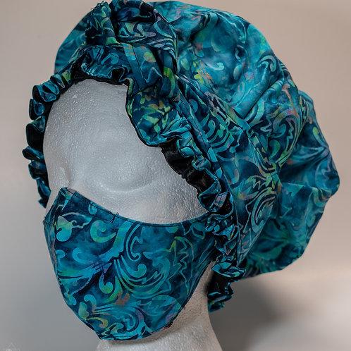 Teal African Print Bonnet & Face Mask