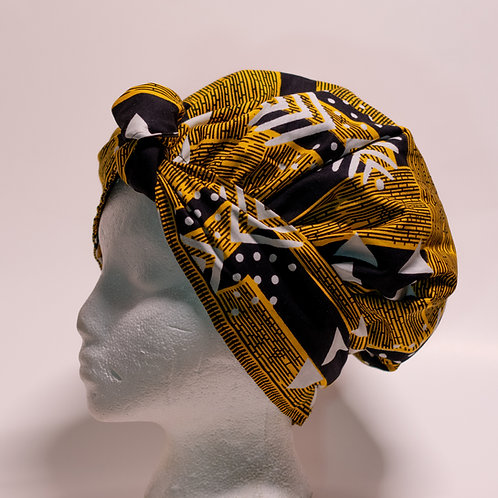 Yellow African print Bonnet