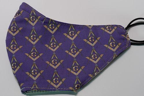 Purple Masonic Square and Compass Face Mask