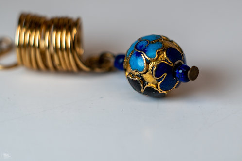 Blue & Gold Flower Ball Loc Jewelry