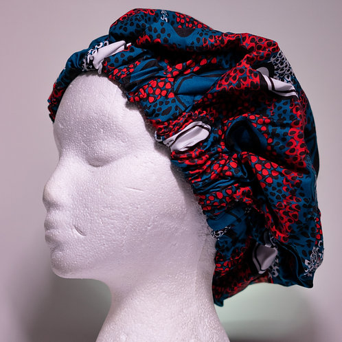 Blue & Red  African printBonnet