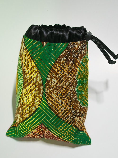 Green & Gold African Print Travel bag