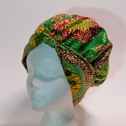 Green African PrintBonnet