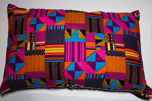 Pink & Teal African Print Pillow