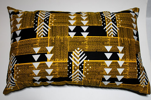 Black & Yellow African Print Pillow