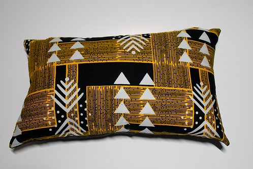 Black & Yellow African Print Travel pillow