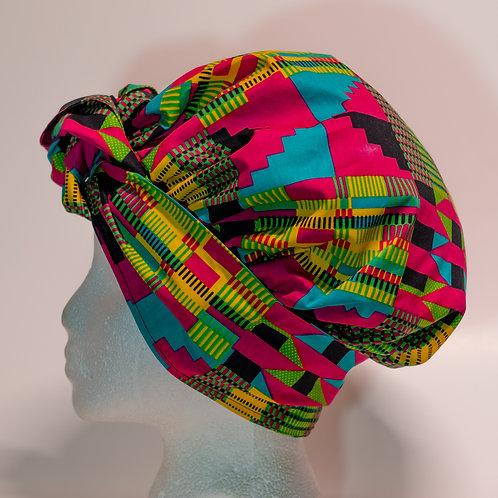 Pink & Teal  African printBonnet
