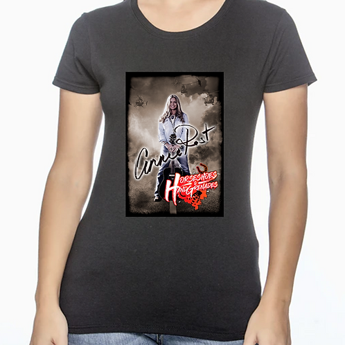 Horseshoes and Hand Grenades  - Black Ladies T-Shirt