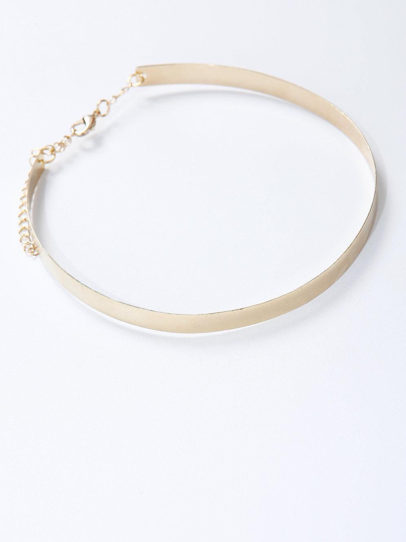75c4a1127a083 Colar Choker de Metal Dourado