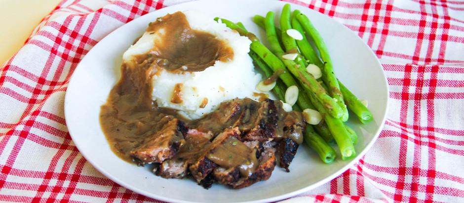 Strip Steak with Truffle Mash and Green Bean Amandine