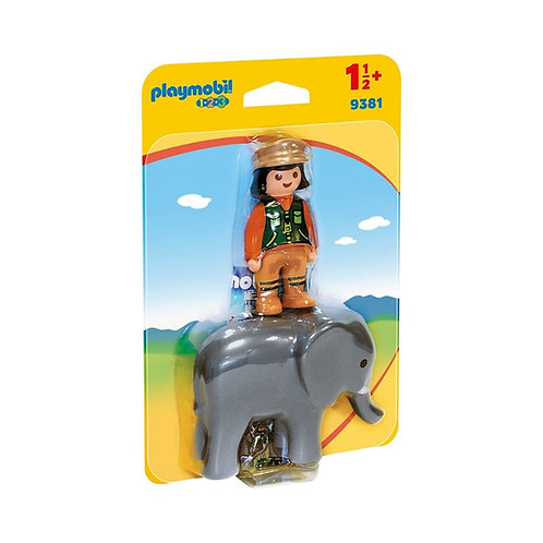 PLAYMOBIL 9381 1.2.3 - Zookeeper with Elephant