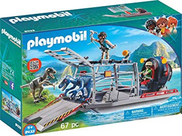 PLAYMOBIL 9433 THE EXPLORERS - Enemy Airboat with Raptors