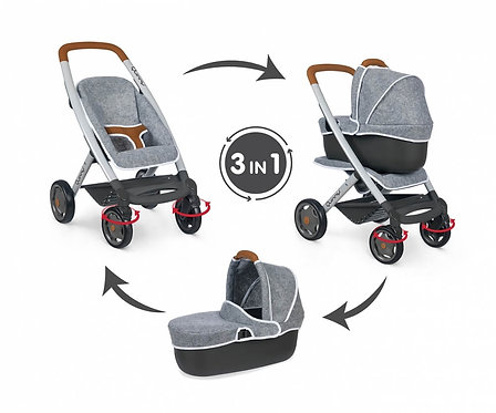 SMOBY - MC&Q GREY PUSHCHAIR + PRAM (7/253104)