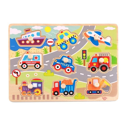 TOOKY TOY - WOODEN VEHICLE PUZZLE (TY860)