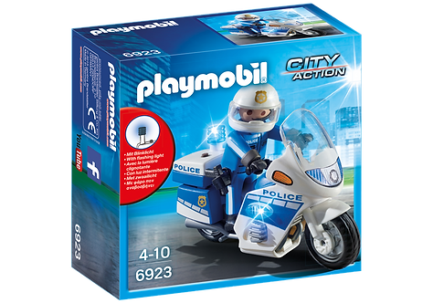 PLAYMOBIL 6923 CITY ACTION - Police Bike with LED Light