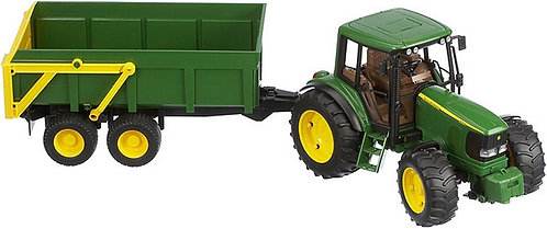 BRUDER 02058 JOHN DEERE TRACTOR WITH TIPPING TRAILER