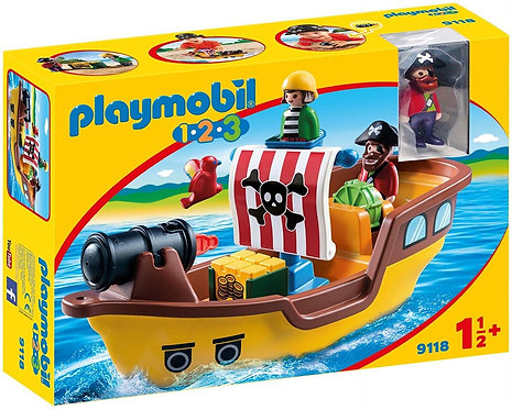 PLAYMOBIL 9118 1.2.3 - Floating Pirate Ship with Firing Water Cannon
