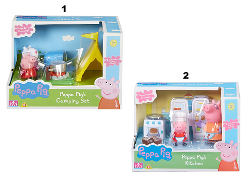 PEPPA PIG - KITCHEN / CAMPING - WITH 2 FIGURES