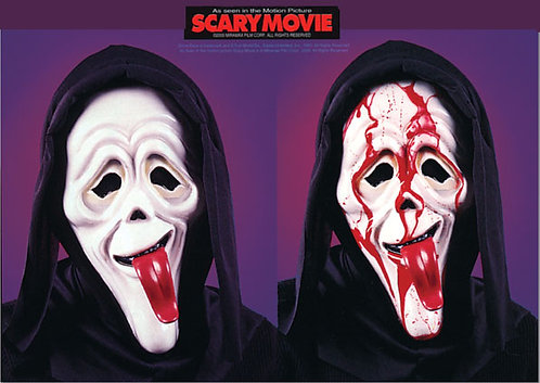 SCARY MOVIE MASK WITH TONGUE BLOOD INTO HEADER