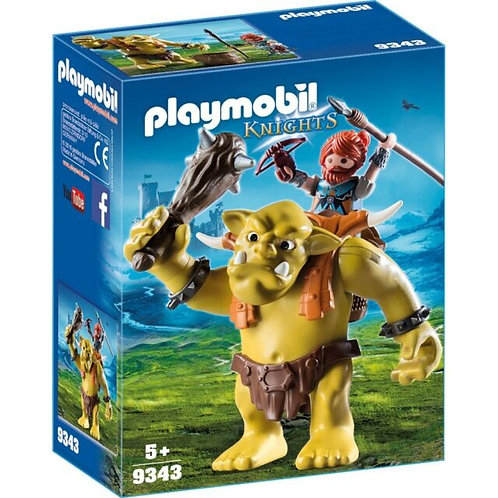 PLAYMOBIL 9343 KNIGHTS - Knights Giant Troll With Dwarf Backpack