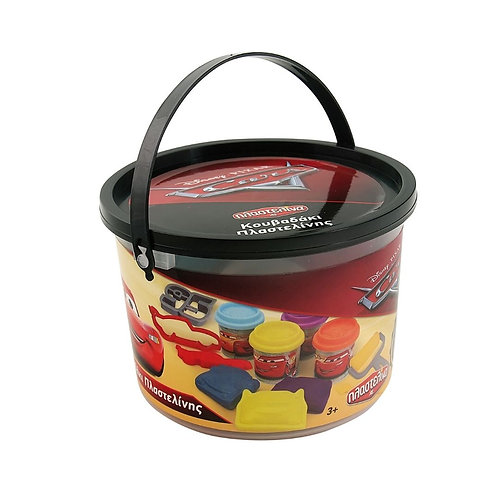 CARS SMALL BUCKET WITH  4 DOUGH POTS AND TOOLS (1045-03550)