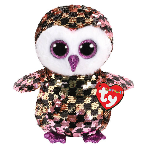 TY SEQUIN CLIP OWL 8.5CM - CHECKS (35309)
