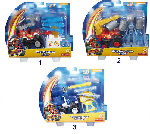 FISHER PRICE BLAZE VEHICLES WITH ACCESSORIES - 3 DESIGNS