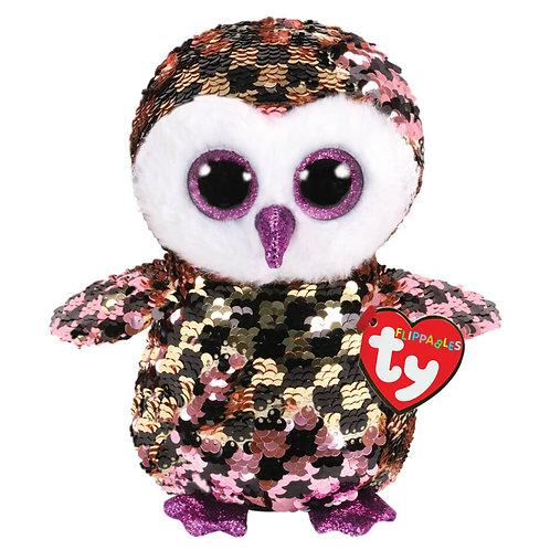 TY SEQUIN OWL 15CM - CHECKS (36673)