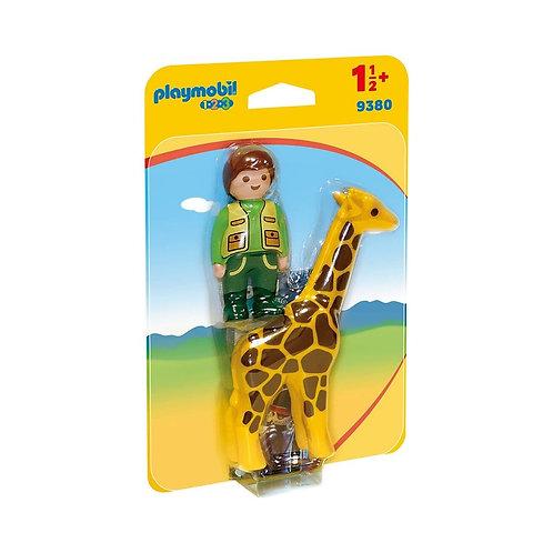 PLAYMOBIL 9380 1.2.3 - Zookeeper with Giraffe