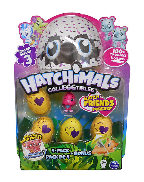 HATCHIMALS COLLEGGTIBLES - 4 PACK + BONUS FIGURE
