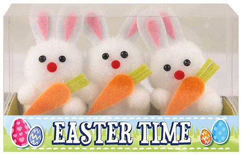 EASTER BUNNIES WHITE WITH CARROT 6CM PK3