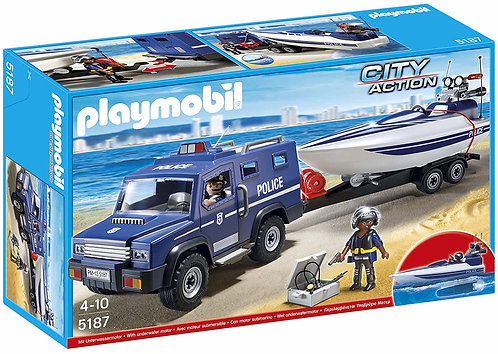 PLAYMOBIL 5187 CITY ACTION - Police Truck with Speedboat