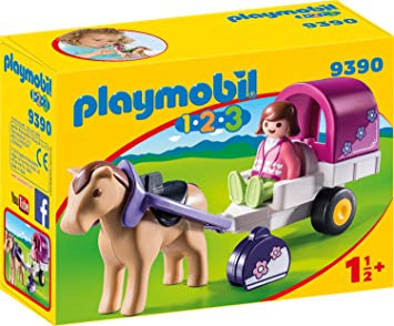 PLAYMOBIL 9390 1.2.3 - Horse-Drawn Carriage with Removable Canopy