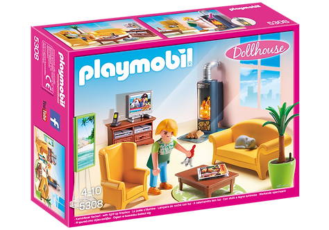 PLAYMOBIL 5308 DOLLHOUSE - Living Room with Fireplace