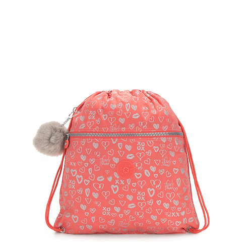 KIPLING SUPERTABOO HEARTY PINK MET