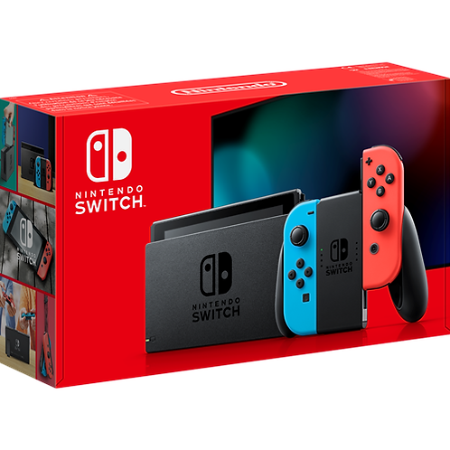NINTENDO SWITCH CONSOLE UPGRADED WITH IMPROVED BATTERY LIFE (NEON RED/NEON BLUE)