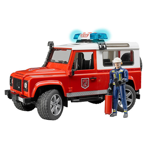 BRUDER 02596 LAND ROVER STATION WAGON FIRE DEPARTMENT WITH FIREMAN