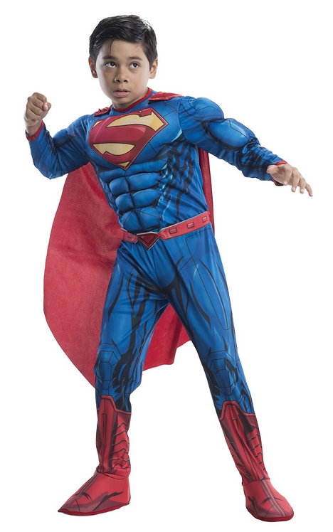 SUPERMAN CHILDREN CARNIVAL COSTUME WITH MUSCLE CHEST