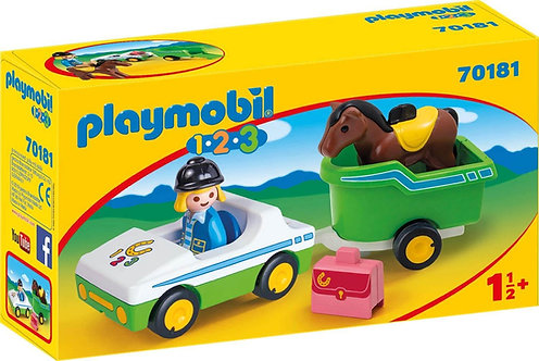 PLAYMOBIL 70181 1.2.3 - Car with Horse Trailer