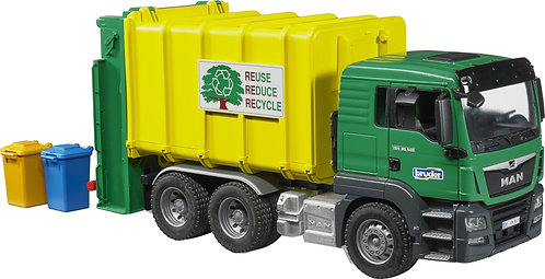 BRUDER 03764 MANT TGS REAR LOADING CARBAGE-TRUCK GREEN