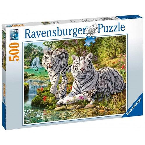 RAVENSBURGER PUZZLE 500 PCS WHITE TIGERS