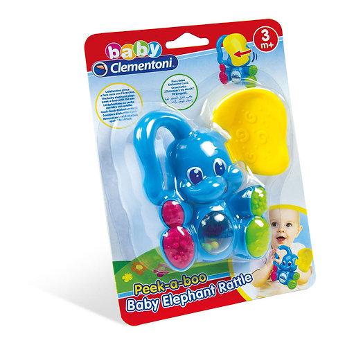 BABY CLEMENTONI PEEK-A-B-OO- BABY ELEPHANT RATTLE (1000-14998)
